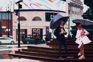 couple city shoes street car rain cloaks men london slawek fedorczuk stairs umbrella concept art
