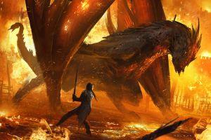 creature artwork fire sword dragon clash illustration sparks burning warrior environment juan pablo roldan digital art fantasy art cinematic