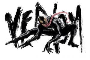 creature artwork venom white background