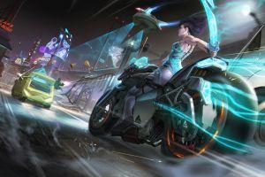 cyberpunk motorcycle futuristic futuristic city artwork vehicle