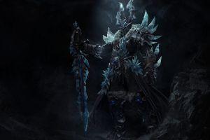 dark armored ice fantasy art warrior artwork sword