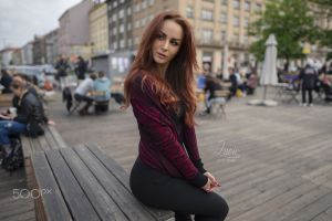 dark eyes women black pants long hair face redhead sweater 500px looking into the distance women outdoors