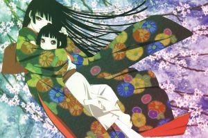 dark hair anime girls jigoku shoujo enma ai anime