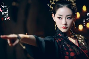 dark hair asian hanfu makeup red lipstick women