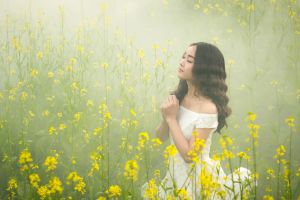 dark hair asian women outdoors women plants brunette flowers