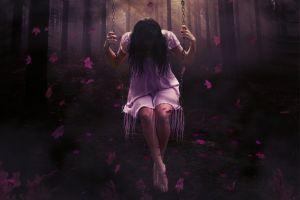 dark hair fantasy girl sitting fantasy art barefoot dark leaves swings