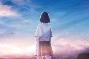 dark hair sky clouds original characters anime short hair outdoors moescape anime girls