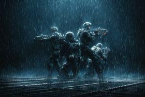 dark kriss vector weapon artwork military rain soldier