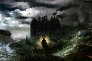 dark sky video games fantasy art moon artwork windmill victor vran night sky