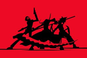 death the kid scythe red background soul eater silhouette maka albarn