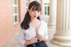 depth of field black skirts red lipstick skirt looking at viewer portrait asian outdoors pigtails ning shioulin women outdoors shirt women cleavage long hair