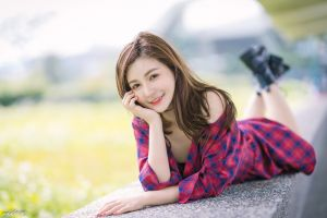 depth of field brunette women long hair model asian