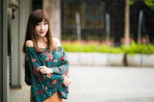 depth of field brunette women model asian long hair