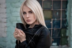 depth of field looking at viewer platinum blonde leather jackets portrait blue eyes women outdoors face model women black jackets blonde jacket