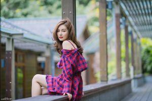 depth of field women long hair asian brunette model