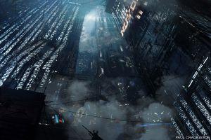 digital 3d abstract city night