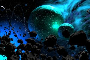 digital art artwork nebula asteroid universe planet digital stars galaxy space
