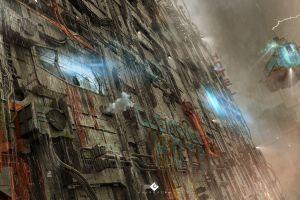 digital art rain futuristic vehicle cyberpunk artwork concept art science fiction lightning building drawing environment