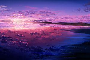 digital art reflection illustration sky clouds artwork sea stars sunset