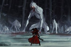 digital art wolf artwork red riding hood fantasy art