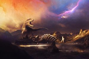 dinosaurs nebula space galaxy planet