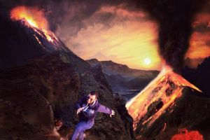 dog photoshop volcano running