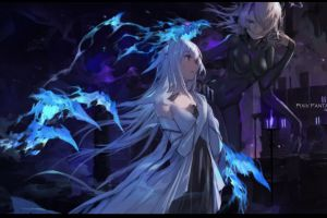 drawing fan art long hair swd3e2 digital art illustration pixiv fantasia anime girls fantasy girl anime women dress artwork fantasy art red eyes
