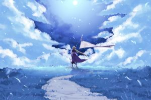 drawing fantasy art clouds ruler (fate/grand order) painting artwork anime sky fate/grand order manga landscape anime girls anime fate series