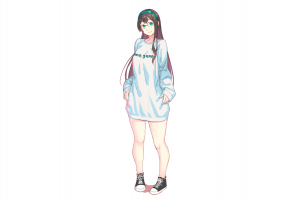 drawing kantai collection minimalism casual converse illustration white background ooyodo (kancolle) long hair women looking at viewer digital art smiling fan art headband