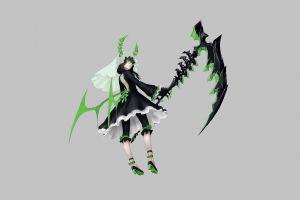 dress bareback horns dead master green eyes black rock shooter (series) anime girls meganekko claws simple background scythe pants brunette veils glasses