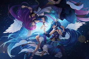 dress wings open mouth smile anime girls long hair anime portrait space ponytail vocaloid blue hair purple hair blue eyes digital art