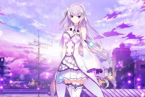 emilia (re: zero) city sky anime re:zero kara hajimeru isekai seikatsu anime girls