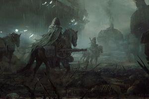 environment weapon fantasy art apocalyptic juan pablo roldan rain horse futuristic drawing illustration artwork war skeleton concept art digital art