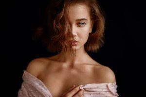 face bare shoulders portrait dark dark background women model brunette georgy chernyadyev hair in face looking at viewer
