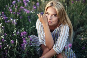 face luba ivanova sitting flowers model long hair straight hair women looking at viewer mouth portrait touching face blonde lips legs