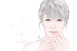 face portrait women artwork simple background