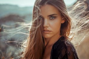 face windy gray eyes makeup long hair anne hoffmann women women outdoors blue eyes looking at viewer tanned model brunette hair in face