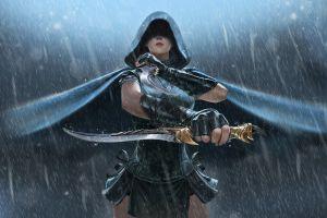 fantasy art assassins  artwork weapon fantasy girl rain