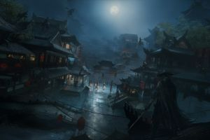 fantasy art chinese architecture fantasy city artwork night moon wuxia asia