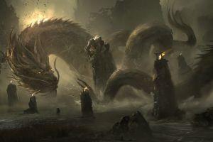 fantasy art cinematic environment china fire mountains creature illustration drawing juan pablo roldan dragon tori digital art artwork