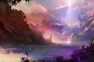 fantasy art digital art landscape rocks artwork river