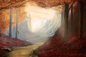 fantasy art illustration fallen leaves painting siberion snow castle mountains trees digital art fall forest