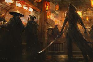 fantasy art weapon katana lamp digital art assassins  science fiction drawing digital painting sword artwork bar environment warrior concept art