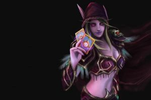 fantasy girl glowing eyes fantasy art blizzard entertainment sylvanas windrunner pc gaming fan art simple background playing cards