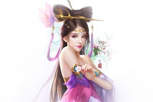 fantasy girl simple background artwork asian
