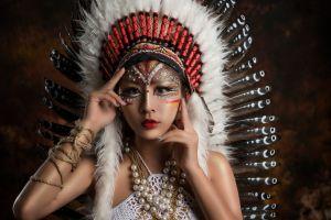 feathers model women asian makeup red lipstick indian women