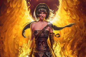 female warrior crimson sapphires fantasy girl phoenix destiny reforged fantasy art misanthropy born of the phoenix fantasy warrior