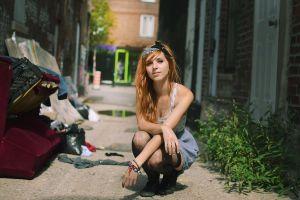 fennek suicide pierced nose squatting alleyway women outdoors