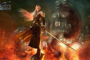 final fantasy vii final fantasy vii: remake sephiroth video games video game art fire final fantasy katana digital art