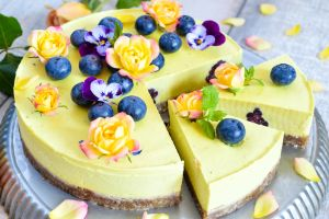 flower petals blueberries sweets colorful cake food berries flowers